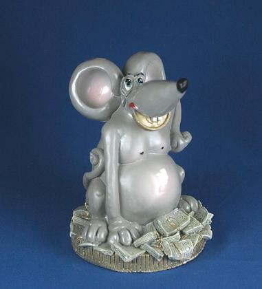 Копилка гипсовая «Крыса на деньгах»