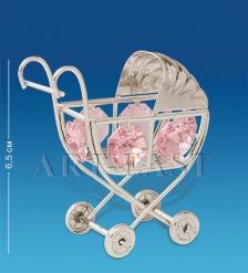 AR-1162/ 1 Фигурка  Детская коляска  сереб. с цв.кр.  Юнион