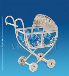 AR-1162/ 2 Фигурка Детская коляска сереб. с цв.кр.  Юнион