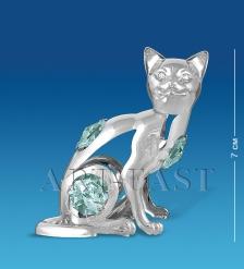 AR-3746/ 7 Фигурка серебр.Кошка с цв.кр.  Юнион