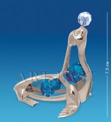 AR-3843/ 1 Фигурка сереб.  Морской котик  с цв.кр.  Юнион