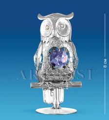 AR-1203 Фигурка серебр. Сова с цв.кр.  Юнион