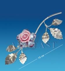 AR-1238 Фигурка посереб.  Цветок  с цв.кр.  Юнион