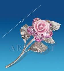 AR-1240 Фигурка посереб.  Цветок  с цв.кр.  Юнион