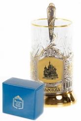 Набор для чая  (3 предмета)Москва позолочение карт.коробка