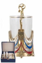 Подстаканник Державный(цвет) с гладким стаканом