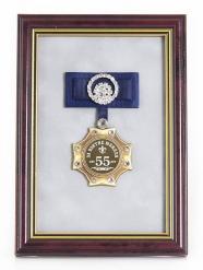 Орден в багете За взятие Юбилея 55лет! (синий бант, стразы)