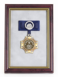Орден в багете За взятие Юбилея 60лет! (синий бант, стразы)