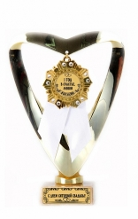Кубок подарочный Сердце С Юбилеем Свадьбы 1 год(Орден, белая лента)
