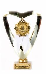 Кубок подарочный Сердце С Юбилеем Свадьбы 25 лет(Орден, белая лента)
