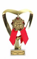 Кубок подарочный Сердце(красный) Учителю инд. гравировка