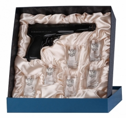 Набор штоф Пистолет 6 рюмок Герб в футляре пейсли с Накладка Полиция