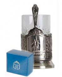 Набор для чая (3 предмета)  Рабочий и колхозница никел. карт. коробка