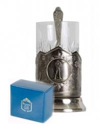 Набор для чая (3 предмета)  Биатлон никел. карт. коробка