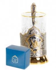 Набор для чая  (3 предмета) Глухарь позолочение карт.коробка