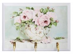 Ключница открытая Розовые розы в вазе