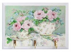 Ключница открытая Розовые розы чаепитие