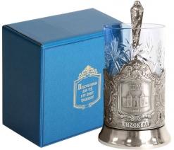 Набор для чая (3 предмета) Курский вокзал (штамп) никел. карт. коробка