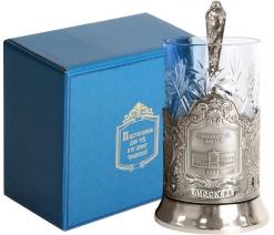 Набор для чая (3 предмета) Савеловский вокзал (штамп) никел. карт. коробка