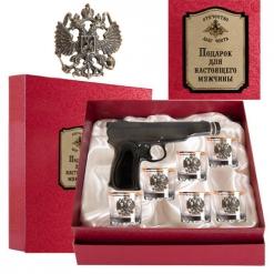 Набор штоф Пистолет 6 стопок(низкие, золотая кайма) Герб(латунь) к/к Отечество Долг Честь