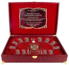 Набор Штоф Капитол и 12 стопок(золотая кайма)Герб (латунь) Настоящий мужчина шкатулка  с музыкальным блоком