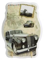 Ключница открытая фигурная Черный автомобиль Ретро (белая)