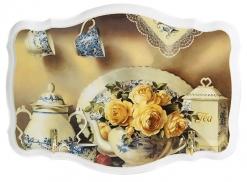 Ключница открытая фигурная Сервиз и желтые розы белая