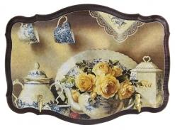Ключница открытая фигурная Сервиз и желтые розы венге