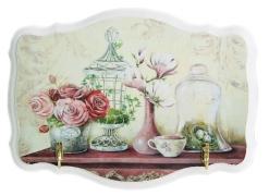 Ключница открытая фигурная Розовые розы, клетка белая