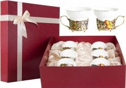 Набор из шести чашек Бабочки и цветы картонный футляр
