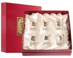 Набор из шести стопок для водки Звери в картонном футляре с накладкой Секреты русской охоты