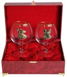 Набор из двух бокалов для коньяка Звери Кабан+Лось(латунь) в шкатулке