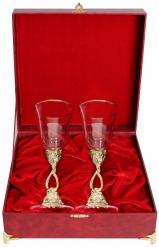 Набор из двух фужеров Виноградная лоза(позолочение латунь, бокал Ретро) в шкатулке(бумвинил)