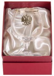 Бокал для коньяка с двойной золотой обводкой(накладка Герб латунь) кр.пейсли