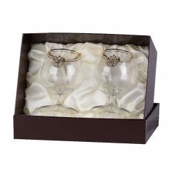 Набор из двух бокалов для коньяка с дв.золотой обводкой(накладка Герб латунь)