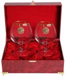 Набор из двух бокалов для коньяка с дв. золотой обводкой(Герб,латунь) в шкатулке(бумвинил)