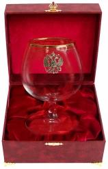 Бокал для коньяка с дв. золотой каймой (Герб, латунь) в шкатулке