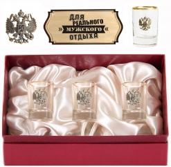 Набор из трех стопок с золотой отводкой(Герб, латунь) в картонном футляре с накладкой Для реального мужского...