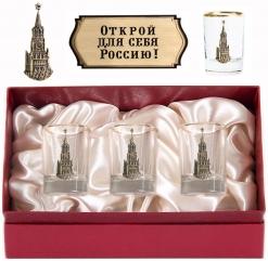 Набор из трех стопок с золотой отводкой(Кремль, латунь) в картонном футляре с накладкой  Открой для себя Россию!