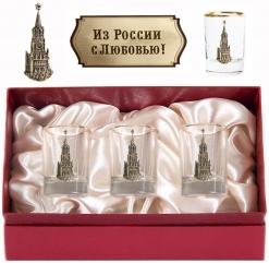 Набор из трех стопок с золотой отводкой(Кремль, латунь) в картонном футляре с накладкой  Из России с любовью!