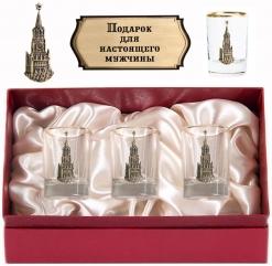 Набор из трех стопок с золотой отводкой(Кремль, латунь) в картонном футляре с накладкой  Подарок для настоящего мужчины