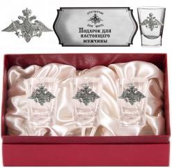 Набор из трех стопок с оловянными накладками(Герб Мин. обороны) в картонном футляре с накладкой  Отечество Долг Честь