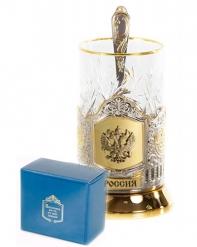 Набор для чая  (3 предмета) с накладкой Герб(латунь) позолочение карт.коробка