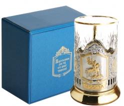 Набор для чая (3 предмета) Георгий Победоносец(штамп) позолочение карт. коробка