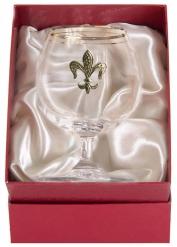 Бокал для коньяка с двойной золотой обводкой(накладка Лилия латунь) кр.пейсли