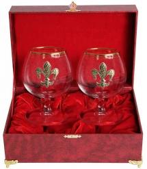 Набор из двух бокалов для коньяка с дв.золотой обводкой (Лилия латунь) в шкатулке(бумвин.)