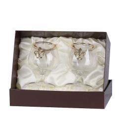 Набор из двух бокалов для коньяка с дв.золотой обводкой(накладка Лилия латунь)