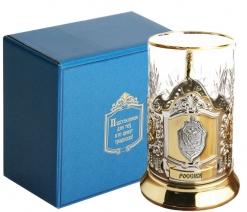 Набор для чая (3 предмета) с накладкой ФСБ (олово) позолочение карт. коробка