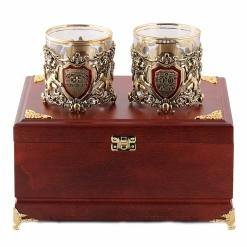 Бокалы для виски  Настоящий Мужчина + Юбилей 55 лет  в деревянной шкатулке