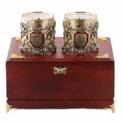 Бокалы для виски  Настоящий Мужчина + Юбилей 60 лет  в деревянной шкатулке